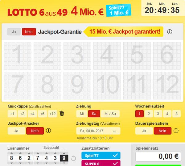 6 aus 49 Lottospielschein