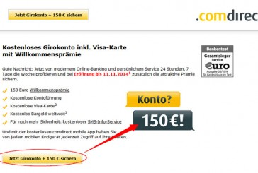comdirect: Girokonto eröffnen – 150 Euro Willkommensprämie kassieren