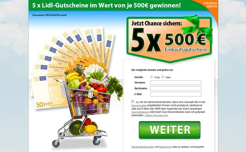 Gratis-Gewinnspiel: 5x Lidl Gutscheine im Wert von 500 Euro
